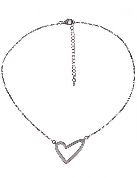 Leslii Damen-Kette Black Heart Schwarz Metalllegierung Hochglanz 40cm + Verlängerung 210116964