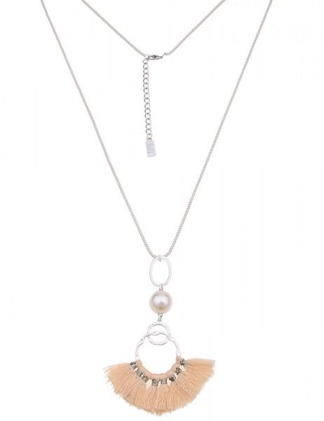 -50% SALE Leslii Damen-Kette Bommel-Ring Silber Beige Textil Metalllegierung 80cm + Verlängerung 220