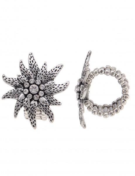 Leslii Damen-Ring Alpenrock Edelweiß Silber Weiß Metalllegierung Strass Größe dehnbar 250116420