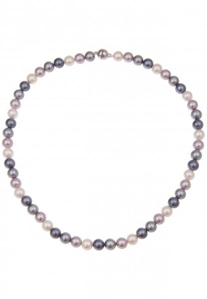 Leslii Damenkette bunte Perlen-Kette Perlen-Collier echte Muschelkern-Perlen kurze Halskette Modesch