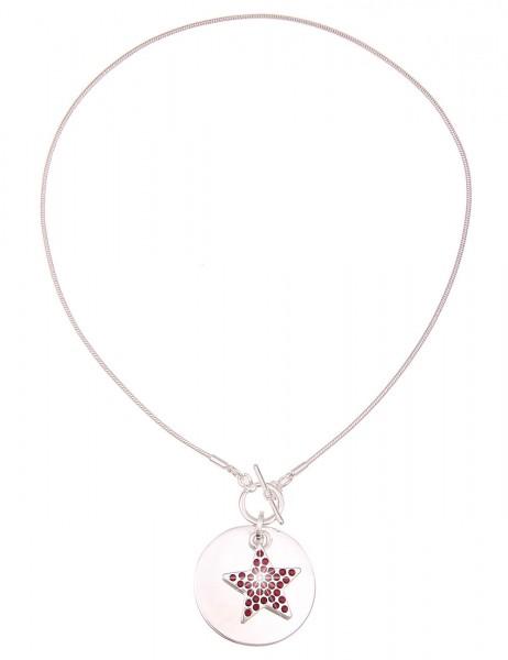 Leslii Damenkette Glitzer Stern aus Metalllegierung mit Strass Länge 45cm in Silber Rot