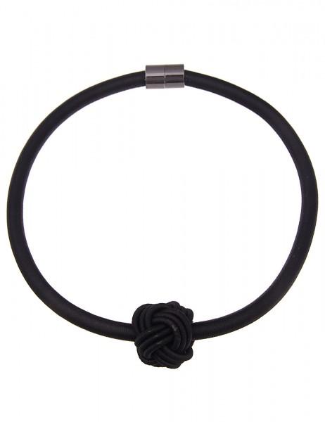 Leslii Damen-Kette Statement Knoten Schwarz Textil Kunststoff 50cm mit Magnet-Verschluss 210116727