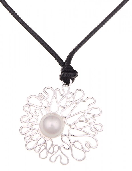 Leslii Halskette Perlen-Schwung Silber Schwarz | kurze Damen-Kette Mode-Schmuck | 45cm + Verlängerun