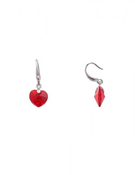 Leslii Damen-Ohrringe Ohrhänger Funkel Herz Silber Rot Metalllegierung Glasstein 2,7cm 230216604