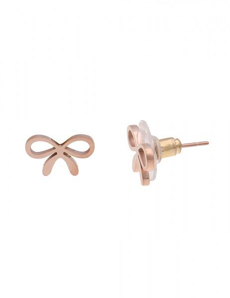 -50% SALE Leslii 4Teen Damenohrringe Ohrstecker Schleife aus Metalllegierung Größe 0,8cm in Rosé