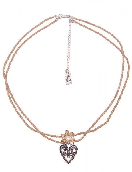 Leslii Damenkette Glitzer Blüte Herz-Kette Dirndl-Kette Oktoberfest kurze Halskette beige Modeschmuc