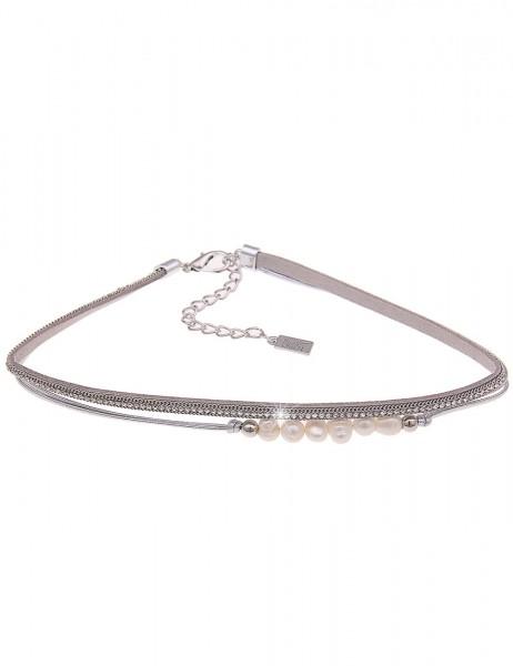 SALE kurze Kette Choker Perlen grau - 01/silber