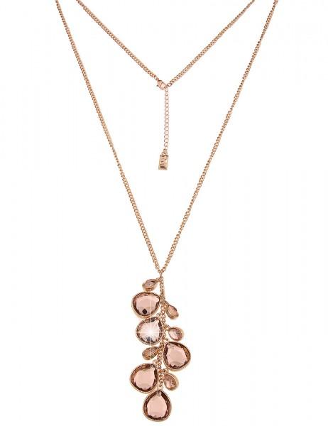 Leslii Damenkette Funkel Tropfen aus Metalllegierung mit Glassteinen Größe 84cm in Gold Braun