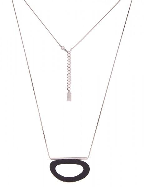 Leslii Damenkette Holz-Oval echte Holz-Kette Holz-Schmuck schwarze Halskette lange Modeschmuck-Kette