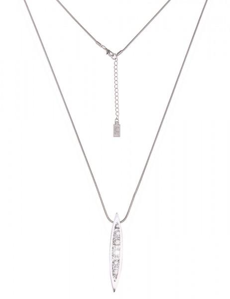 Leslii Damen-Kette Glitzer-Steine Silber Weiß Metalllegierung 85cm + Verlängerung 220115584