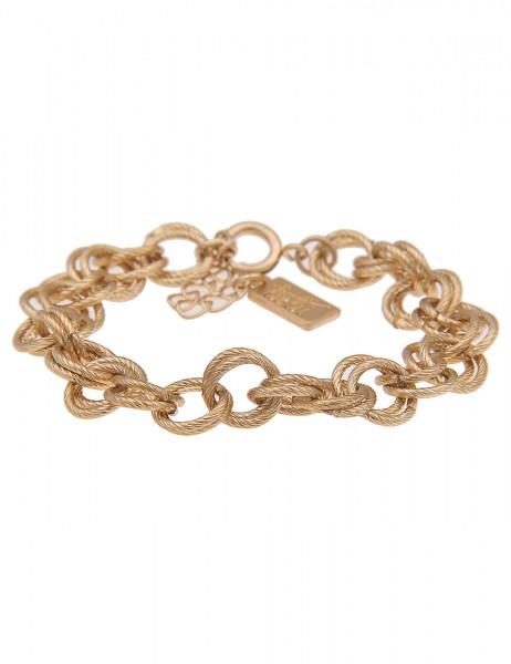 Leslii Damenarmband Ring Glieder-Armband Statement Armschmuck Modeschmuck-Armband Länge 18cm in Gold