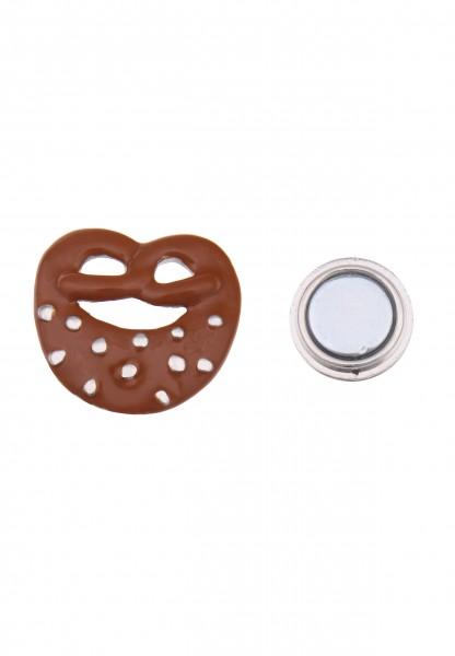 -50% SALE Leslii Damen-Pin Magnet-Anstecker Alpenrock Brezel Braun Silber Metalllegierung 3,3cm 2701