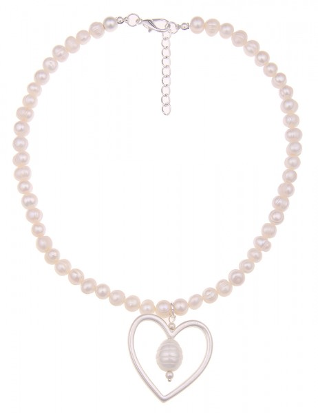 -70% SALE Leslii Halskette Perlen-Herz Weiß Silber   kurze Damen-Kette Mode-Schmuck   45,5cm + Verlä