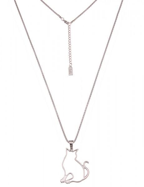 -50% SALE Leslii Damenkette Katze aus Metalllegierung Hochglanz Länge 83cm in Silber