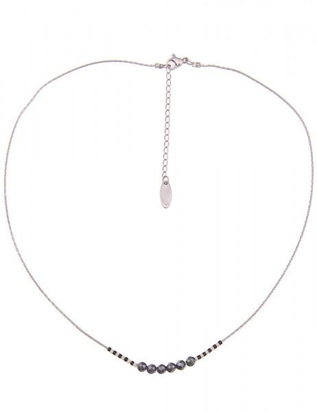 Leslii Damenkette Modern aus Metalllegierung mit Glasperlen Länge 42cm in Silber Grau
