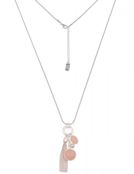 Leslii Damen-Kette Schlangen-Kette Tassel-Anhänger Bommel Troddel lange Halskette silberne Modeschmu