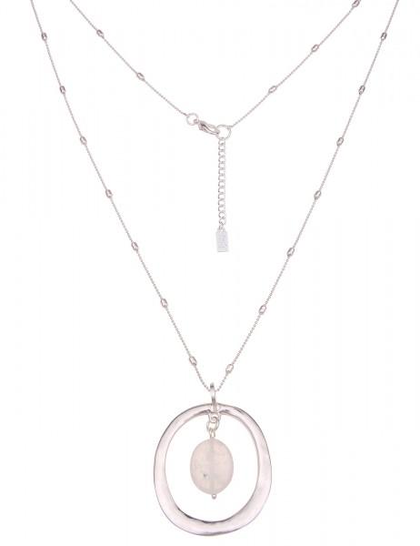 Leslii Damen-Kette Naturstein Oval Stein-Anhänger Glieder-Kette lange Halskette silberne Modeschmuck