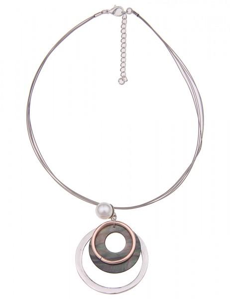 Leslii Damenkette Halsreif Ringspiel aus Metalllegierung mit Perlmutt Länge 44cm in Silber Grau
