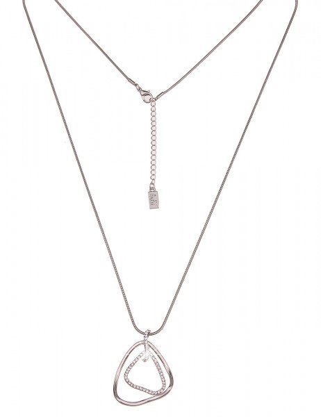 Leslii Damen-Kette Glitzer Schwung Silber Weiß Metalllegierung Strass 83cm + Verlängerung 220116834
