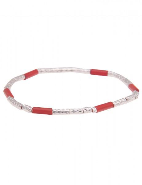 Leslii Damen-Armband zartes Armband Filigran Stäbe Muster-Armband silbernes Modeschmuck-Armband in S