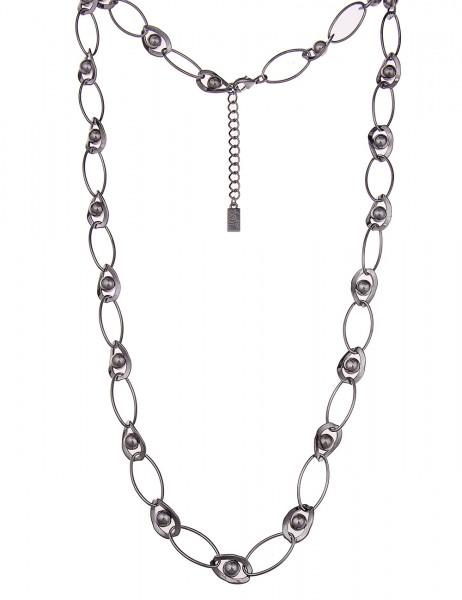 -50% SALE Leslii Premium Quality Damenkette Glieder Kugeln aus Metalllegierung 90cm in Schwarz