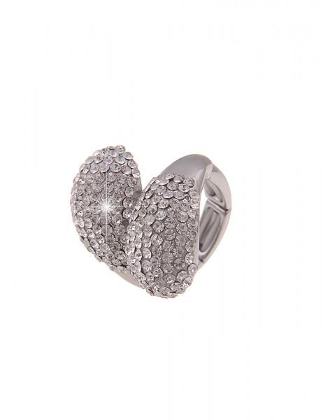 Leslii Damen-Ring Stretch-Ring XXL breiter Statement-Ring weißer Strass-Ring silberner Modeschmuck-R