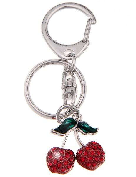-70% SALE Leslii 4teen Schlüsselanhänger Glitzer Kirsche aus Metalllegierung mit Strass Größe: 7,6cm