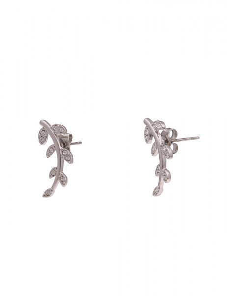 Leslii Damen-Ohrringe Strass-Ohrstecker Blätter-Ohrringe Ast-Schmuck silberne Modeschmuck-Ohrringe i