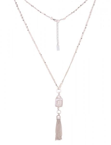 Leslii Damen-Kette Muschel-Kette Glieder-Kette echtes Muschel-Stück lange Halskette silberne Modesch
