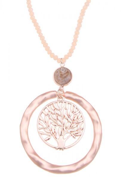 -70% SALE Leslii Damen-Kette Lebensbaum Natur-Stein Glas-Perlen Baum lange Halskette roséfarbene Mod