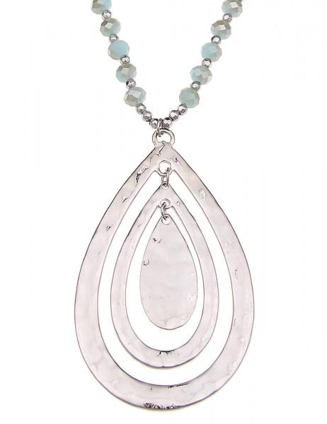-50% SALE Leslii Halskette Tropfen Braun Silber | lange Damen-Kette Mode-Schmuck | 85cm + Verlängeru