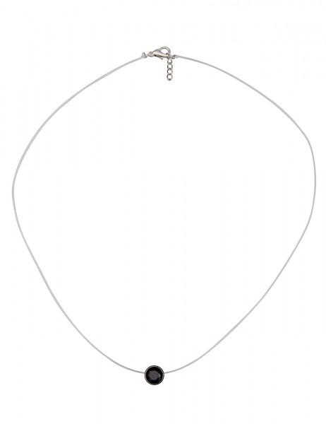 Leslii Damenkette Single Stone aus Kunststoff mit Glasstein Länge 40cm in Schwarz