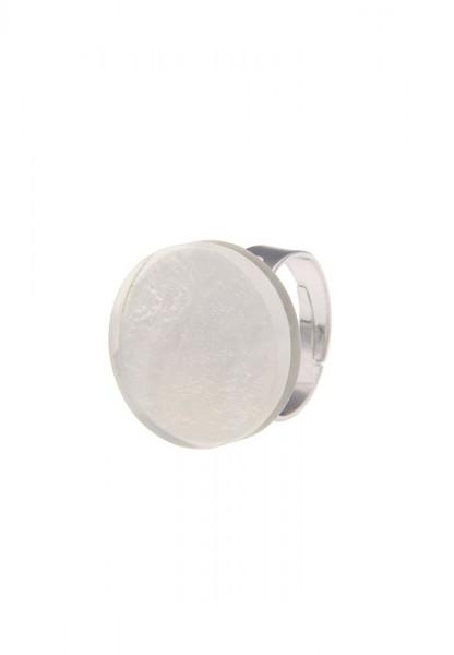LAST CHANCE Leslii Damen-Ring Capizmuschel Weiß Silber Metalllegierung Größe verstellbar 250413570