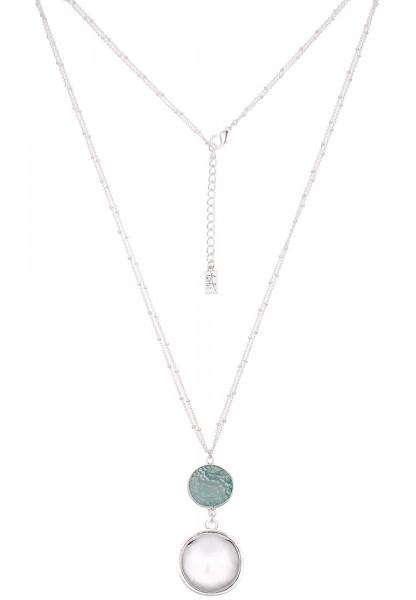 Leslii Damenkette Naturstein Button aus Metalllegierung Länge 86cm in Silber Mint