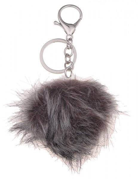 -50% SALE Leslii Schlüssel-Anhänger Kunstfell Bommel Grau | Damen-Accessoires Mode-Schmuck | Länge: