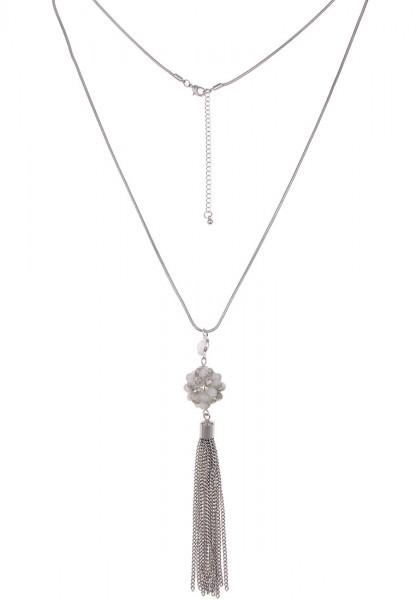 Leslii Glasperlenball Silber | Trendige lange Kette | Damen Mode-Schmuck | 75cm + Verlängerung