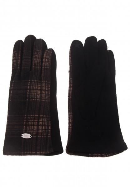 Leslii Damen-Handschuhe Fashion Karo-Muster schwarze Winter-Handschuhe kariert Teddy-Fleece weiche H