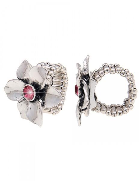 -50% SALE Leslii Damen-Ring Glanz-Blume Silber Pink Metalllegierung Strass Größe dehnbar 250215920