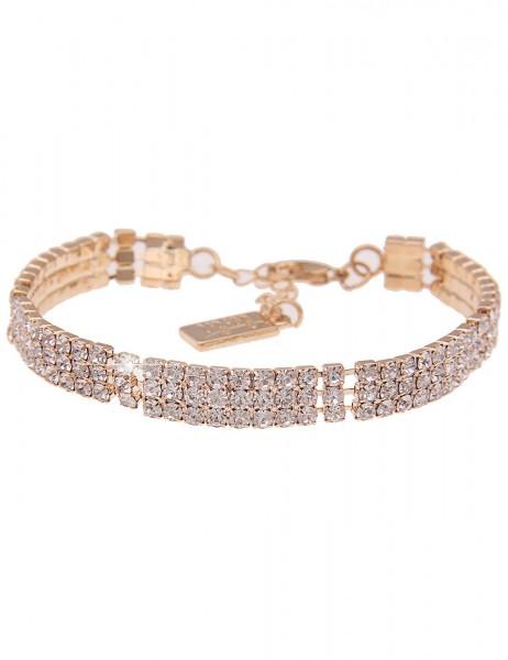 Leslii Damen-Armband Glitzer-Armband Statement-Armband Strass-Schmuck Glieder goldenes Modeschmuck-A