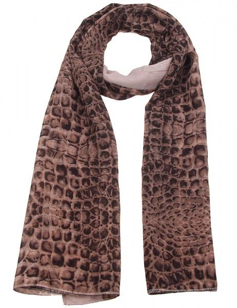 Leslii Damen Schal Krokodil-Muster Alligatior brauner Musterschal weicher Herbst-Schal Größe 180cm x