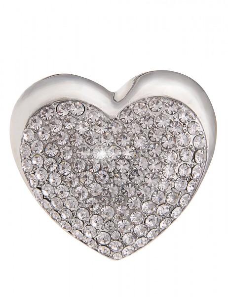 Leslii Pin Magnet-Anstecker Glitzer Herz Silber | Damen-Accessoires Mode-Schmuck | Größe: 4cm