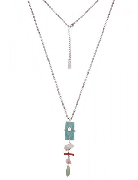 Leslii Damen-Kette Naturstein-Kette Glieder-Kette Stein-Splitter lange Halskette silberne Modeschmuc