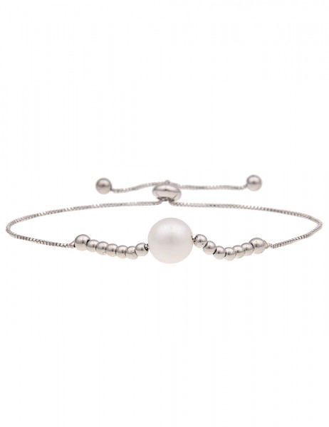 Leslii Damen Armband Perlen Glanz aus Metalllegierung mit Kunstperle Länge verstellbar in Silber Wei