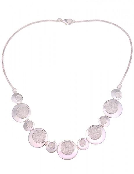 Leslii Damen-Kette Statement Collier-Kette runde Anhänger kurze Halskette silberne Modeschmuck-Kette