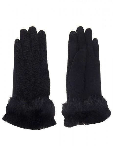 Leslii Damen Handschuhe Fake Fur aus Polyester mit Baumwolle Größe One Size in Schwarz