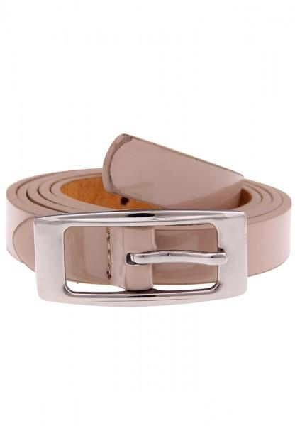 Leslii Uni Lack Beige | Trendiger schmaler Gürtel | Damen Mode-Accessoire | 1,8cm breit