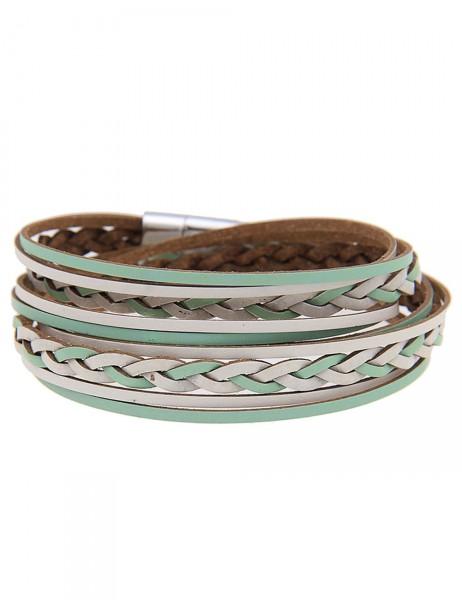 -50% SALE Leslii Damen Wickel-Armband Flecht-Muster Grün Weiß Lederimitat Metalllegierung Länge: 40c