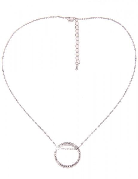 Leslii Damen-Kette Strass-Ring Silber Weiß Metalllegierung Hochglanz 43cm + Verlängerung 210116811