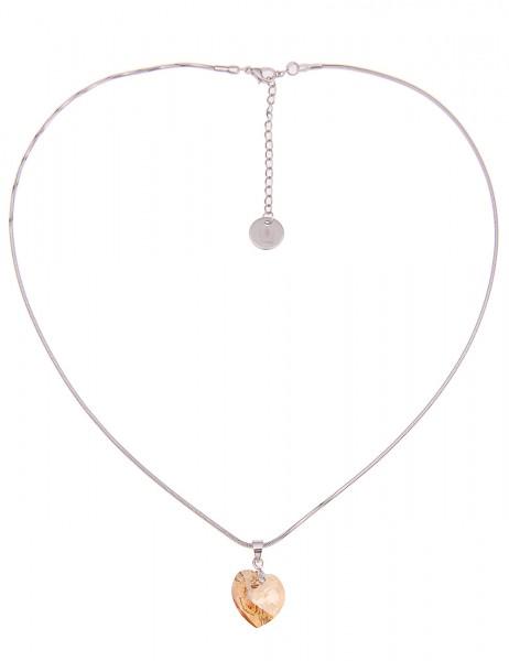 -50% SALE Leslii Damen-Kette Funkel Herz Silber Braun Hochglanz Glasstein Metalllegierung 45cm + Ver