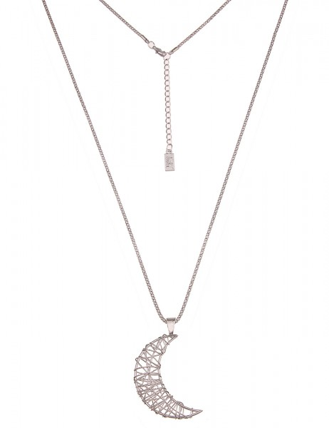 -50% SALE Leslii Damenkette Halbmond aus Metalllegierung Länge 83cm in Silber
